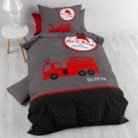 Otroška bombažna posteljnina Fireman ta tu Red