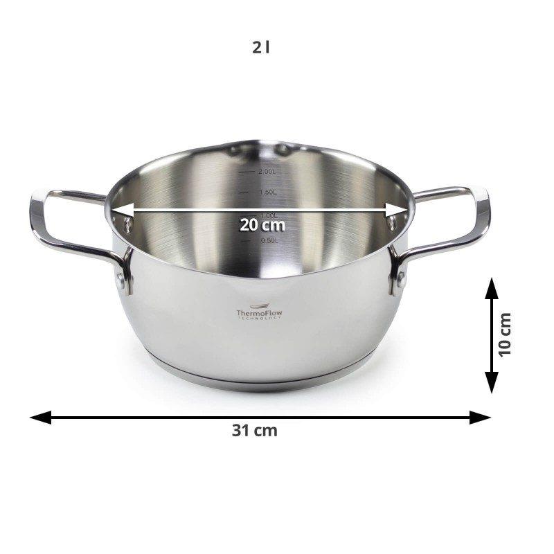 Jekleni lonec s stekleno pokrovno Pour&Cook premera 20 cm in prostornine 2 l odlikuje neuničljivo jeklo 18/10 s 3-slojnim dnom, ki omogoča hitro in enakomerno segrevanje ter krajši čas kuhanja. Tehnologija ThermoFlow poskrbi za odlično razporeditev toplote po celotni površini posode in s tem za enakomerno kuhanje. Za preprostejše kuhanje ima lonec v notranjosti merilno skalo, za lažje odlivanje in izparevanje pa odlivčnik, prilagojen pokrov in navzven obrnjen rob posode. Primeren je za vsa kuhališča, tudi indukcijo, enostaven za pomivanje, tudi v pomivalnem stroju.