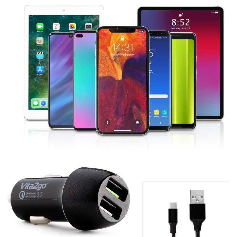 Dvojni hitri avtopolnilec za telefon z dvema univerzalnima USB izhodoma in priloženim USB-C kablom vam omogoča hitro polnjenje tudi do dveh naprav hkrati. Le 20 minut vožnje je potrebne, da se baterija vašega telefona zadovoljivo napolni. Paket vključuje pleteni USB-C kabel iz dvoslojnega najlona, ki mu zraven ojačanih konektorjev zagotavlja dolgo življenjsko dobo.