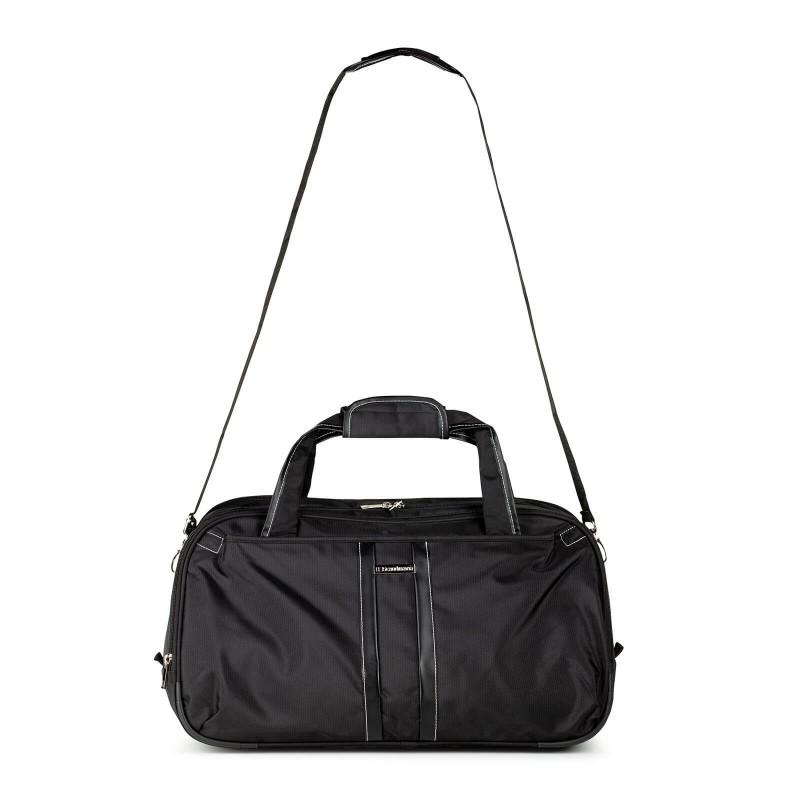 Potovalna torba Soho v črni barvi je športno-elegantnega videza in omogoča dodatno 20 % razširljivost. Uporabljamo jo lahko kot potovalno ali športno torbo, ki se praktično zloži in zavzame izredno malo prostora pri shranjevanju. Zaradi mehkega ročaja in dodatnega daljšega ročaja je torba enostavna za prenašanje na rami. Osrednji večji predal je dovolj velik za večje predmete, sprednji manjši predal pa omogoča hiter dostop do najnujnejših potrebščin.