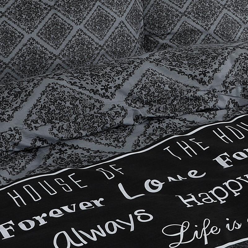 Čas je za popolno razvajanje z moderno bombažno posteljnino! Posteljnina Love Forever je iz renforce platna, ki velja za lahko, mehko tkanino, preprosto za vzdrževanje. Možnost uporabe na obeh straneh. Posteljnina je pralna na 40 °C.