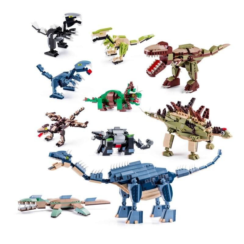 10-delni set dinozavrov s katerimi lahko poustvarite pravo filmsko sceno Jurskega parka. S kockami koristno preživljate prosti čas, zraven pa se veliko naučite. Spodbujajo k domišljiji in ustvarjanju. Z igračo otroci razvijajo fino motoriko in prostorsko zaznavanje. Kocke so primerne za otroke starejše od 6. let.