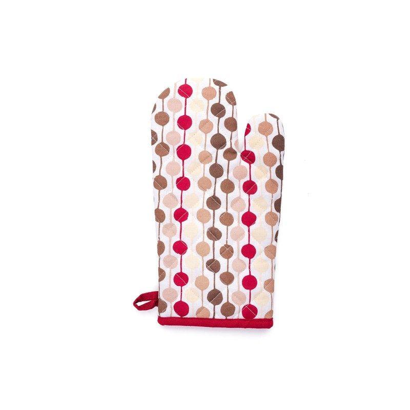 Gospodinjska rokavica bo varovala vaše roke pred vročo kuhinjsko posodo. Z igrivim pikčastim motivom v treh različnih barvah, ki se podajo v vsako kuhinjo. Rokavica dimenzij 18 x 32 cm.