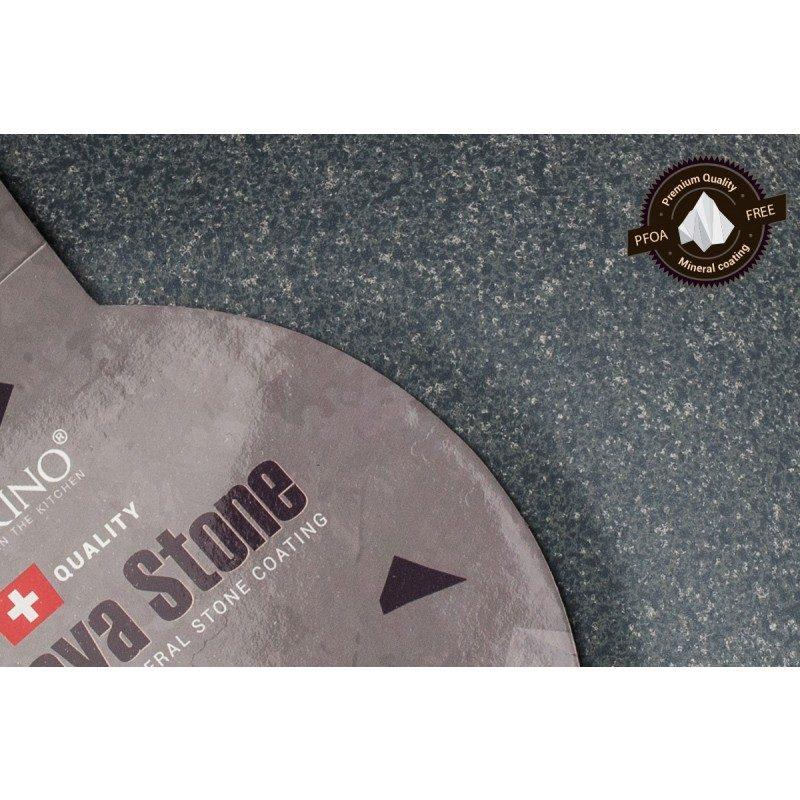 Nizki lonec Rosmarino Black Lava Stone (20 x 8,5 cm) spada v rang premium posode z inovativnim in tehnološko dovršenim hrapavim mineralnim premazom, ki je bil razvit v Švici.