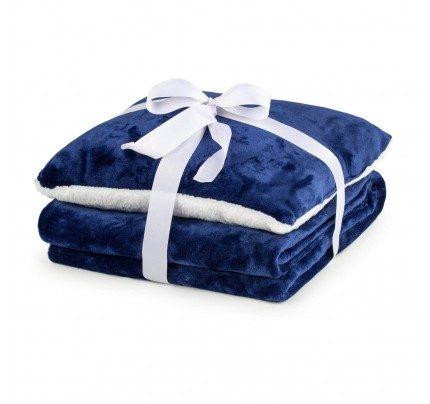 Dekorativna odeja in vzglavnik Vitapur Beatrice Solid - modra