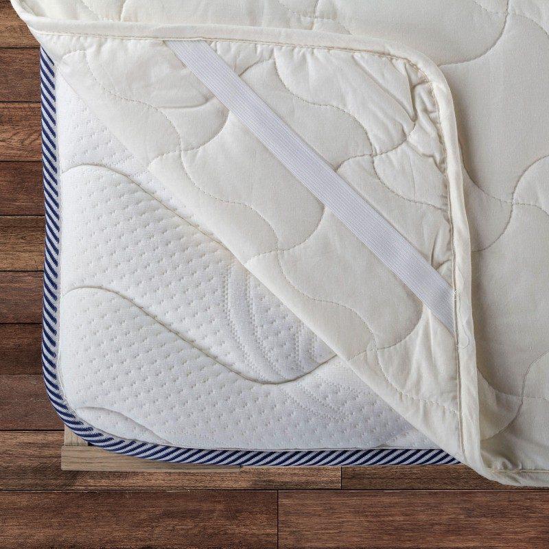 Zaštita za madrac Andora pruža učinkovitu zaštitu madracu od mrlja i prljavštine. Vaš će postojeći madrac biti čist, s potpuno novim madracem  vaš će san biti ugodniji, a vaš madrac će imati duži životni vijek. Zdravo i suho okruženje za spavanje omogućuje stopostotno nebijeljeno  pamučno i bambusovo vlakno koje učinkovito apsorbira i uklanja vlagu iz madraca. Zaštita ima izdržljive elastične trake na rubovima, što čini brzo i jednostavno za postavljanje. Zaštita je periva u cijelosti na 60 ° C.