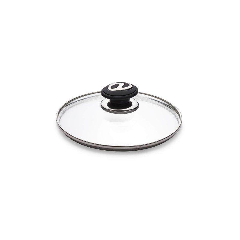 Stakleni poklopac s premium Soft Touch ručkama, otporan na toplinu, omogućuje potpunu kontrolu nad kuhanjem.