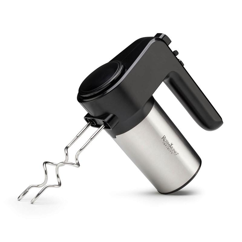 Ručni mikser Rosmarino Infinity bit će vaš vjerni prijatelj prilikom pripreme raznih recepata koji zahtijevaju tučenje ili gnječenje. Istući bjelanjke, pripremiti tijesto za biskvit, tijesto za pite ili zamijesiti tijesto za kruh ili pizzu bit će precizno, ujednačeno i brzo. Uz 6 postavki brzine i dodatnu turbo funkciju, sada ćete se moći pripremati bilo koji recept. Sustav OneButtonEject omogućuje vam brzo uklanjanje metlica sa samo jednim klikom, što olakšava promjenu nastavaka. Uključene su 2 metlice za tučenje i 2 metlice za gnječenje. Minimalistički dizajn u crnoj i inox boji  zadovoljit će i sve ljubitelje elegancije u kuhinji.