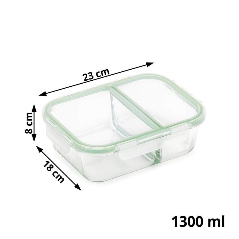 """Stakleni pekač sa odjeljkom i poklopcem Rosmarino Bake&Go (1300 ml) modernog dizajna. Vaš novi nepogrešiv """"pomoćnik"""" kod pečenja, spremanja hrane ili obroka na putu. Pekač sa staklenim poklopcem i dodatnom silikonskom brtvom ne propušta zrak i tekućinu te će vas spremanje hrane u posudu ili prijenos na putu zasigurno oduševiti. Borosilikatno staklo je čvrsto i otporno na udarce ili mehanička oštećenja. Ne izlučuje štetne tvari u hranu i ne ostavlja umjetni okus ili miris na hrani. Pekač je otporan na visoke temperature u pećnici ili u mikrovalnoj pećnici, primjeren za pohranu u hladnjaku i pranje u perilici posuđa. Idealno pomagalo za pripremu lazanji, gratiniranih tjestenina, pečenje pita ili za pohranu već pripremljenih obroka. Savršen i za vaše omiljene obroke kada ste na putu."""