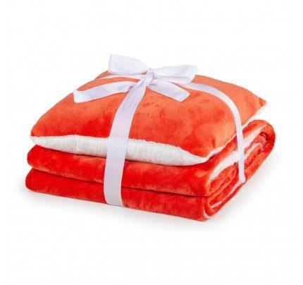 Dekorativni pokrivač i jastuk Vitapur Beatrice Solid - narančasti