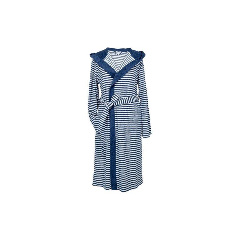 Bade mantil sa kapuljačom, od pletenog frotira. Elegantan dizajn, sa džepovima i pojasom za vezivanje. Za muškarce i za žene. Plava boja. Veličine: S, M, L i XL.