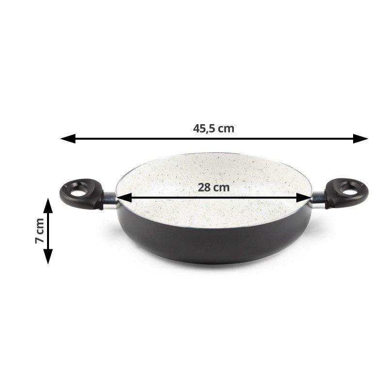 Tiganj za jednostavno dinstanje hrane. Prečnik 28 cm. Kuvanje sa manje masnoća, izdržljiv mineralni premaz.