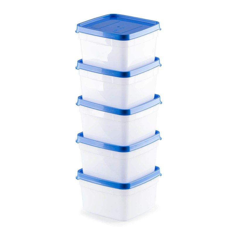Set od pet malih posuda za zamrzavanje hrane Rosmarino, pomoći će da lakše organizujete prostor u vašem zamrzivaču. Kod smrznute hrane, često se suočavamo sa pitanjem koja hrana je unutra i kada je stavljena u zamrzivač. Komplet posuda će vam olakšati rad, jer svaka ima poseban deo na poklopcu, na kojem možete upisati datum i vrstu hrane koju stavljate unutra. Dizajnirane da izdrže niske temperature do - 40 °C. Poklopac omogućava da hrana zadrži svoj rok trajanja duže vreme i ne meša mirise se sa drugim namirnicama u zamrzivaču.