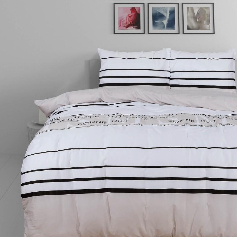 Vreme je za potpuno uživanje u modernim pamučnim posteljinama! Posteljina Modern Suit je satkana od visokokvalitetnog, tankog i mekanog pamučnog satena. Posteljina od satena je čudesan ukras vaše spavaće sobe, a u isto vreme odličan izbor za udoban i ugodan san. Neka vas očara klasični dizajn prestižnog izgleda. Jastuci imaju poseban rub, koji poboljšava veličanstven izgled. Posteljina se može oprati na 40 °C.