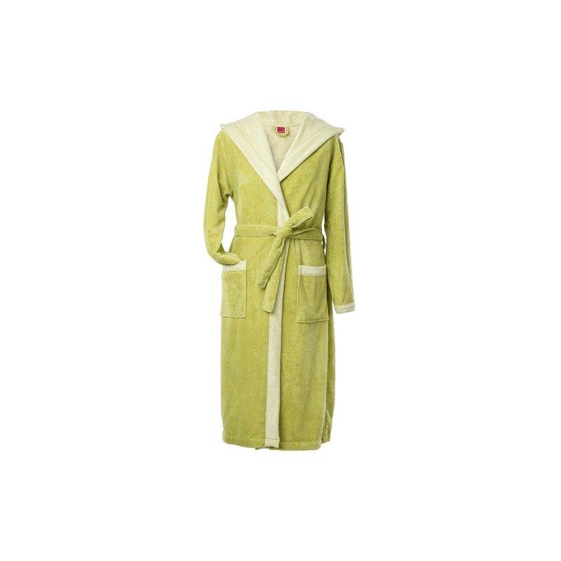 Bade mantil od kombinacije prirodnih i veštačkih vlakana, sa kapuljačom i dubokim džepovima. U veličinama: S, M, L. Zelena boja.