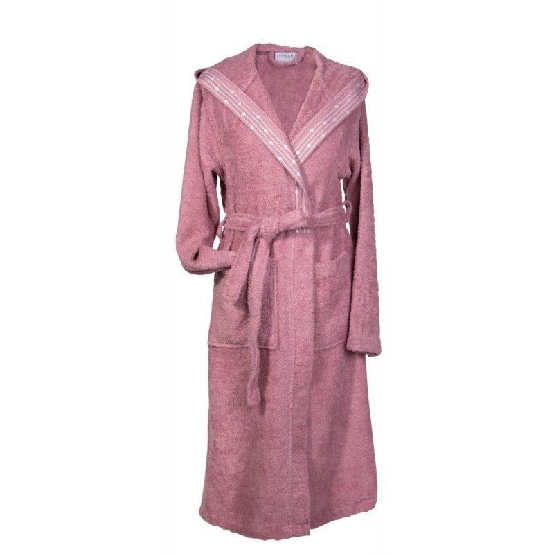 Bade mantil sa kapuljačom od visokokvalitetnog frotira, sa ukrasnim rubovima, klasičnog je izgleda i pogodan je za žene i muškarce. Veličine : S, M, L. Roze boja.