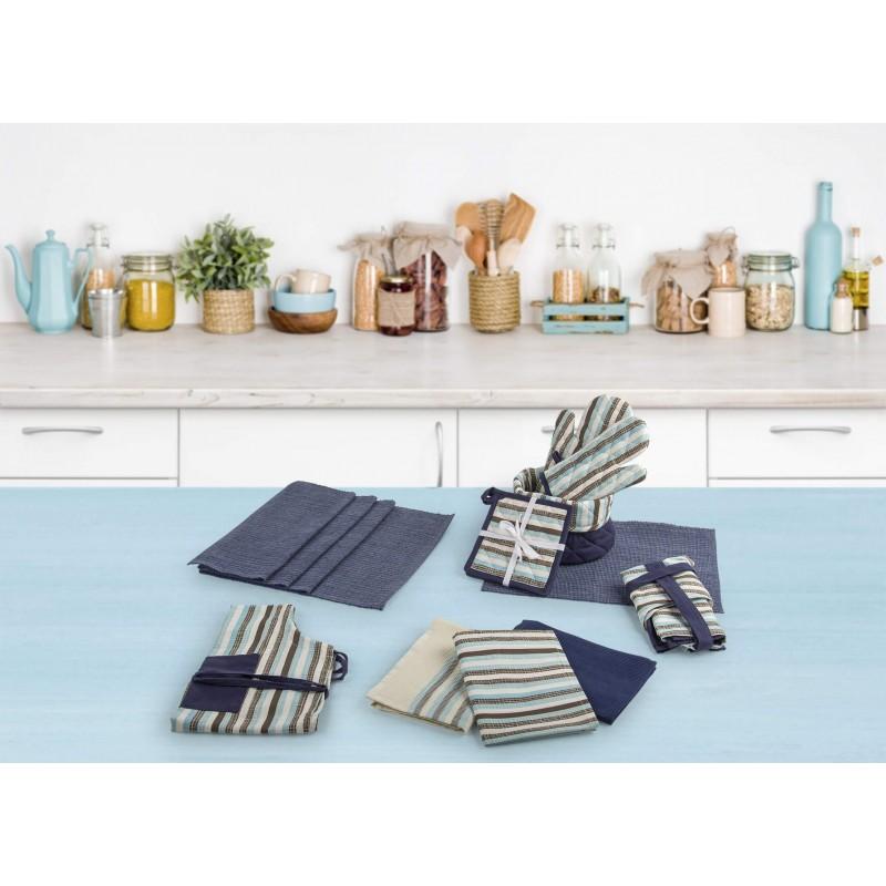 Set od dvije krpe od 100 % pamuka savršeno upijaju tečnost i idealne su za brisanje posuđa i radnih površina u kuhinji. Moderan dizajn uljepšaće vašu kuhinju. Krpe su perive na 40 °C (print) i 60 °C (vafel tkanje).