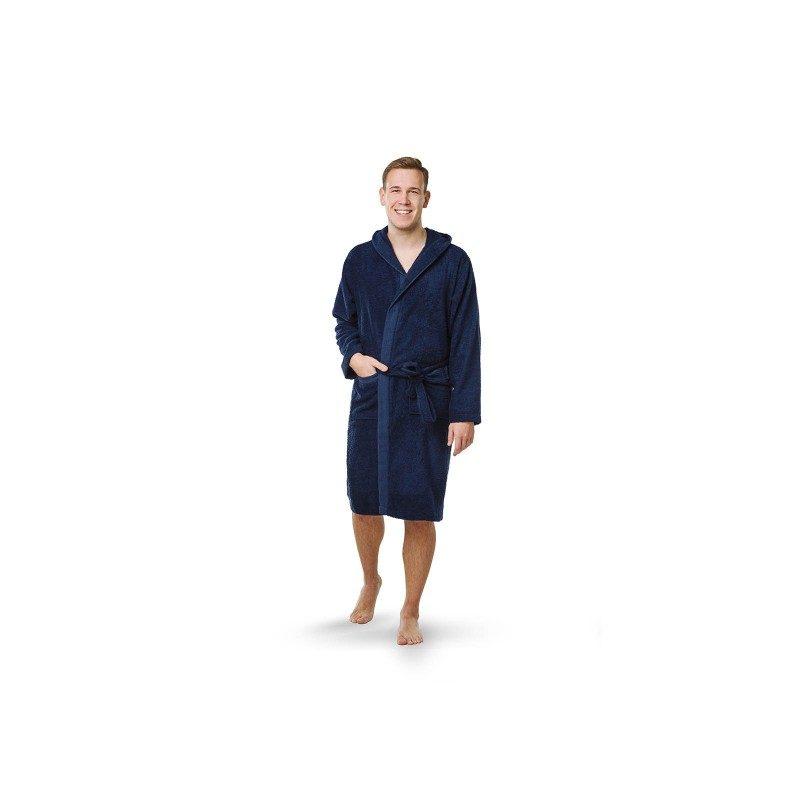 Kupaoni ogrtač Svilanit, sa kapuljačom, izrađen je od 100% pamučnog kvalitenog frotira sa dekorativnom bordurom klasičnog izgleda. Primjeren je i za žene i za muškarce. Veličine: S, M, L, XL. Tamno plava boja.