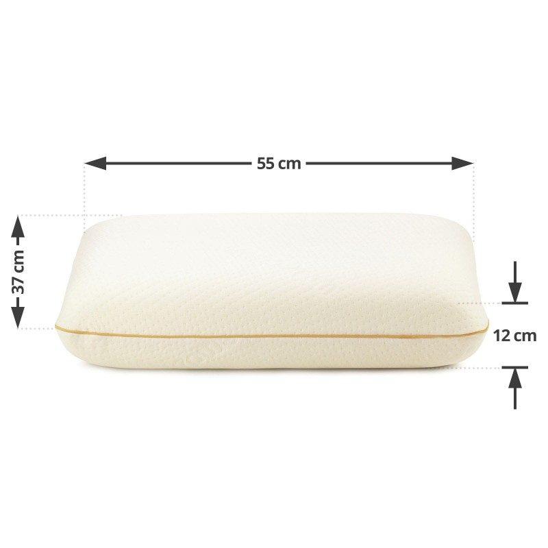 Klasični jastuka od memorijske pjene MemoDream sigurno će vas uvjeriti svojom svestranošću jer je pogodan za sve položaje spavanja. Memorijska pjena kombinuje prednosti i karakteristike klasičnih jastučića i jastuka od lateksa. Savršeno se prilagođava obliku i pritisku tijela, savršeno podupire vrat i kičmu i opušta tijelo tokom spavanja. Navlaka se skida i pere na 40 °C.