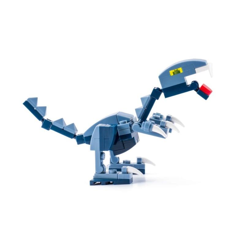 Voliš filmove o Jurassic Parku? Sada su u vašoj kući dinosaurusi! Izaberite svog omiljenog dinosaurusa i napravite strašnu filmsku scenu Jurassic Parka! Postoji čak 10 različitih dinosaurusa koje ćete bolje upoznati zabavnim sastavljanjem. Učenje i kreativno stvaranje Djeca vole kockice, vole da kreiraju i stvaraju. Sa Kiddo kockama ulaze u svijet dinosaurusa na zabavan i poučan način. Kockice su korisne za slobodno vrijeme. Podstiču maštu i kreativnost. Komplet sadrži 62 dela. Primjereno za djecu od 6 godina. Da li dovoljno poznajeteDromaeosaurusa? Dromaeosaurusi suimali veliku glavu, a takođe i oštre zube. Karakteriše ih duge i jake noge. Njihove prednje noge su bili kratke i imali su tri kandže za lakši lov i penjanje. Vjerovatno su bili prekriveni perjem, ali to nije sasvim sigurno.Njihova specijalnost bila je to što su bili jedni od najbržih dinosaurusa. Opšte karakteristikeDromaeosaurus :  Visina: 0,5 m Dužina: 1,7 m Težina: od 15 do 25 kg Mjesto: Zapadna Amerika (Kanada) Period: prije 76-74 miliona godina Hrana: mesojedi