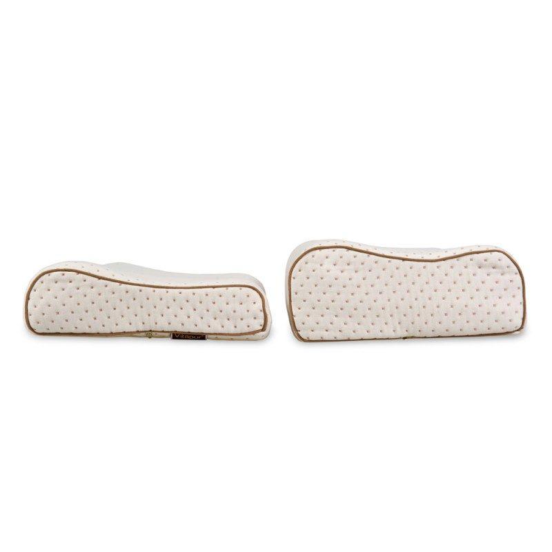Anatomski oklik višeg jastuka od lateksa je primjeren za sve sa širim ramenima i koji pretežno spavaju na boku ili leđima. Lateks je najprirodniji materijal koji odlično podupire vrat i glavu tokom spavanja, a rupičasta struktura jezgra osigurava suho okruženje za spavanje. Navlaka jastuka se skida i periva je na 40 °C.