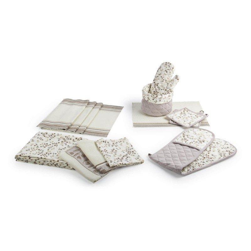 Set od dvije krpe od 100 % pamuka savršeno upijaju tečnost i idealne su za brisanje posuđa i radnih površina u kuhinji. Moderan dizajn krpa uljepšaće i dati dodir vašoj kuhinji. Krpe su perive na 40 °C (print) i 60 °C (vafel tkanje).