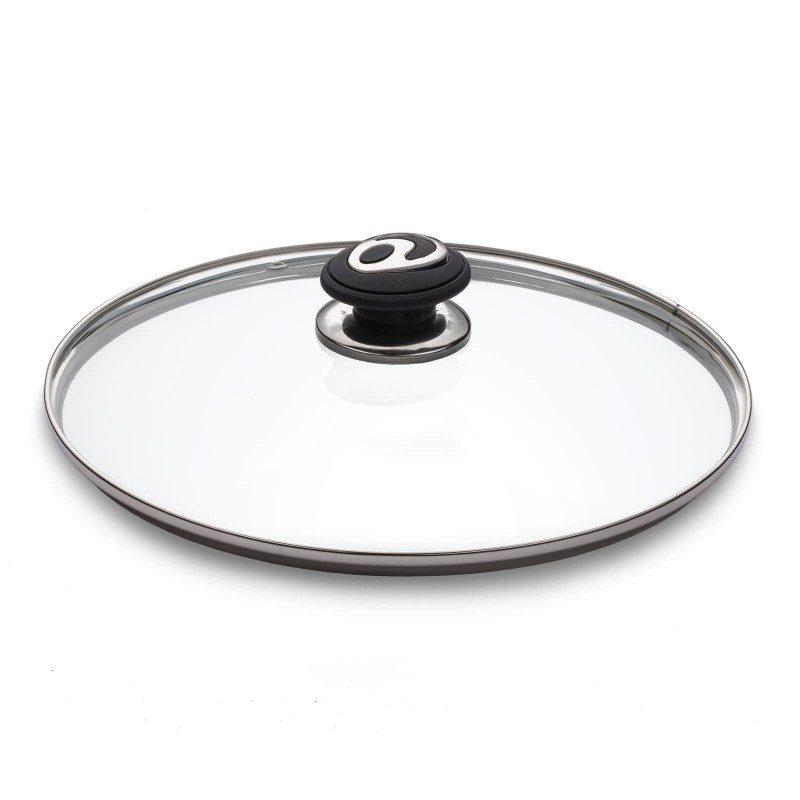 Stakleni poklopac s premium Soft Touch ručkama, otporan na toplotu, omogućuje potpunu kontrolu nad kuvanjem.