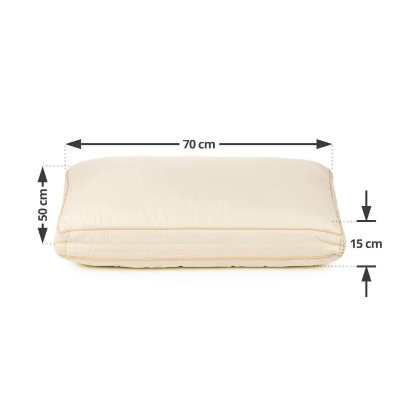 Klasični oblik jastuka Bamboo Premium 2u1 oduševiće vas svojom univerzalnošću, jer je jastuk primjeren za sve položaje spavanja. Posebnost jastuka je njegovo dvojno punjenje, na jednoj strani su tvrđe silikonizirane kuglice, na drugoj mekana mikrovlakna. Jastuk možete okretati po želji na onu stranu koja vam više odgovara. Vaša koža je u dodiru sa 100 % nebijeljenim pamukom i bambusovim vlaknima za više svježine i higijensku okolinu za spavanje spalno. Jastuk je u cjseloti periv na 40 °C.