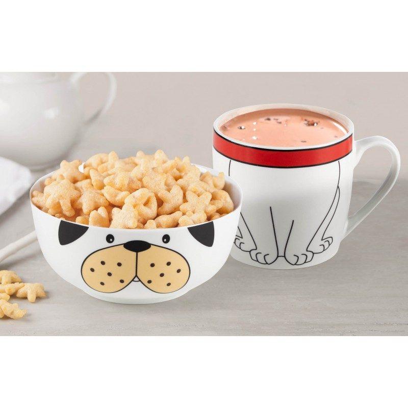 Dvodjelni Rosmarino porcelanski set sa motivom psa postaće omiljeni prijatelj vašeg djeteta za vrijeme doručka ili večere. Posudica je idealna za pripremu žitarica, voća, povrća, sladoleda i druge dječije hrane, dok je šoljica pogodna za pripremu svih vrsta pića, mlijeka, kakaa ili čaja. Set je izrađen od visokokvalitetnog porcelana primjerenog za upotrebu u mikrotalasnoj rerni, frižideru i mašini za pranje posuđa. Glavna prednost porcelana je u tome što ne poprima miris i ukus i jednostavan je za čišćenje sa dugim rokom trajanja. Idealan izbor za poklon.