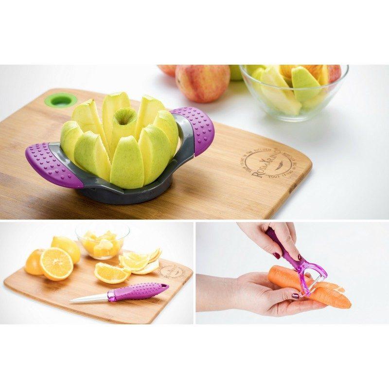 Praktični trodjelni set kuhinjskih dodataka za voće i povrće: ljuštilica, rezač i nož.