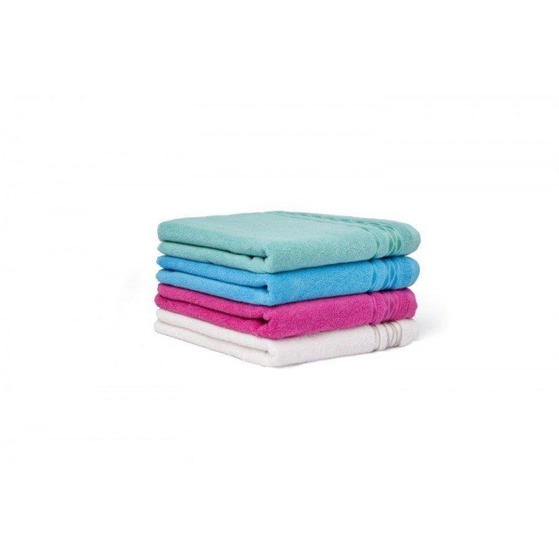 Upijajuća i mekana pamučna tkanina. Dekorativna bordura. Dostupne dimenzije 50x100 i 70x140 cm. Ciklama boja.